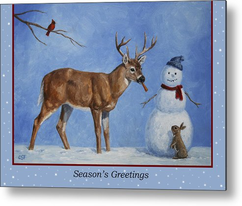 Deer Metal Print featuring the painting Whose Carrot Seasons Greeting by Crista Forest