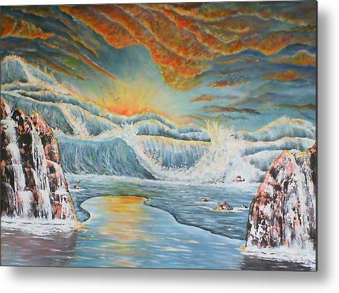 Ocean Metal Print featuring the painting Ocean's Three by Vincnt Clark