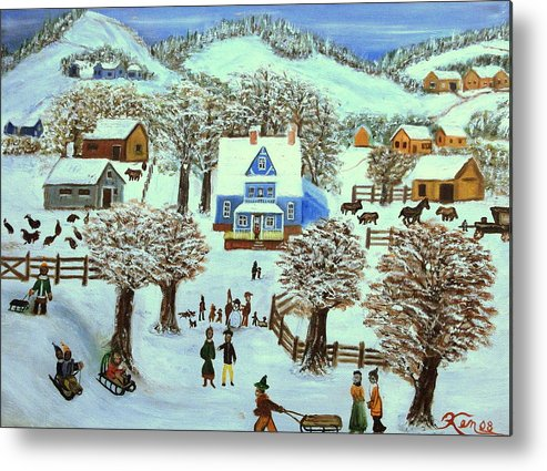 Folk Art Metal Print featuring the painting Winter Village by Kenneth LePoidevin