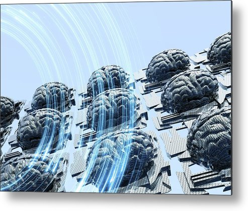 Horizontal Metal Print featuring the digital art Artificial Intelligence, Artwork by Victor Habbick Visions