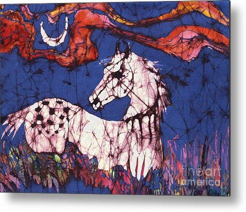 Batik Metal Print featuring the tapestry - textile Appaloosa In Flower Field by Carol Law Conklin