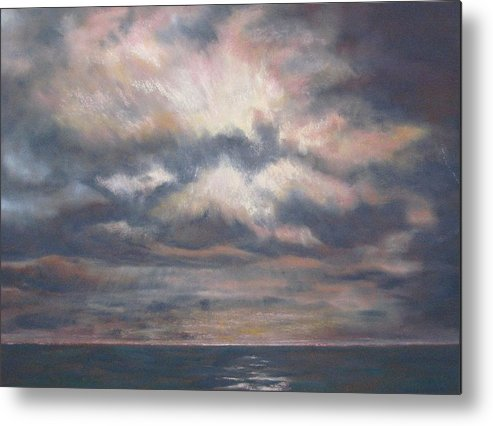 Pacific Metal Print featuring the pastel Approaching Sunset by Marlene Kingman