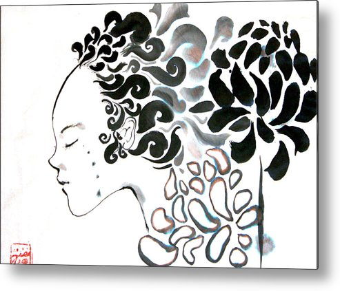Calligraphy Metal Print featuring the painting Beauty Of Mums by Jessamyn Hoshikawa