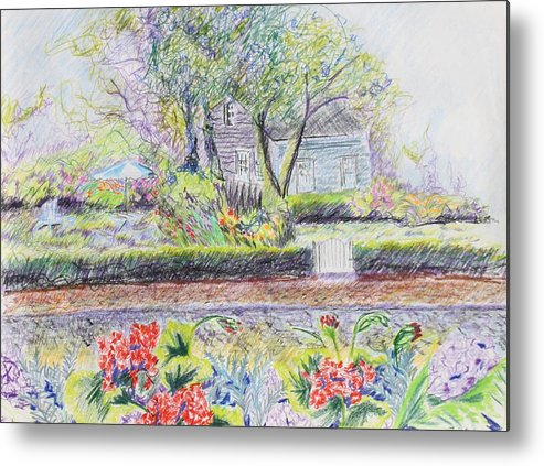 Landscape. Metal Print featuring the drawing Bed And Breakfast View by Thomas J Nixon
