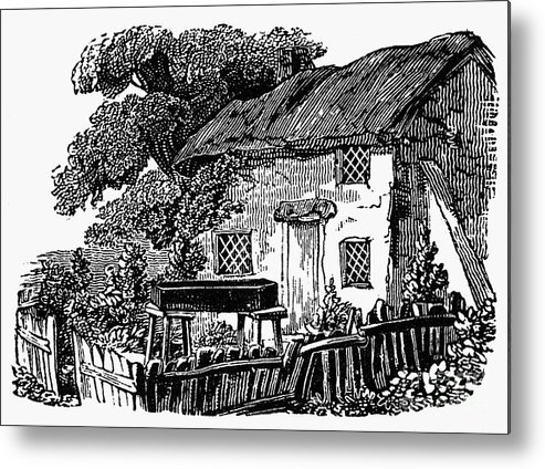 19th Century Metal Print featuring the photograph Bewick: Rural House by Granger