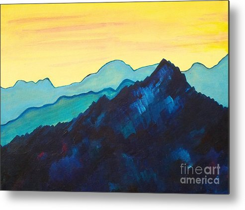 Landscape Metal Print featuring the painting Blue Mountain II by Silvie Kendall