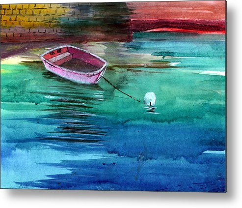 House Metal Print featuring the painting Boat And The Buoy by Anil Nene