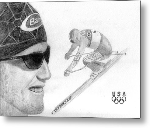 Bode Miller Metal Print featuring the drawing Bode Miller by Pat Moore