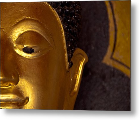 Buddha Metal Print featuring the photograph Buddha's Face by Preston Coe
