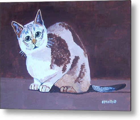 Cat Metal Print featuring the painting Cat With Brown Background by Eamon Reilly