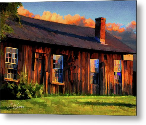 Shed Metal Print featuring the painting Farrier's Shed by Suni Roveto