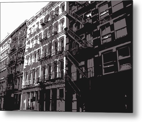 New York City Fire Escapes Metal Print featuring the photograph Fire Escapes Bw3 by Scott Kelley