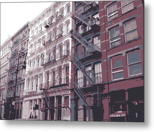 New York City Fire Escapes Metal Print featuring the photograph Fire Escapes Color 6 by Scott Kelley