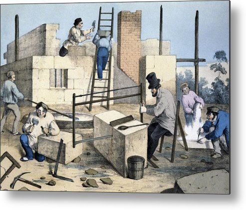 Building Metal Print featuring the photograph House Construction, 19th Century Artwork by Cci Archives