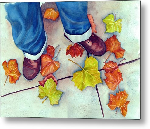 Watercolor Metal Print featuring the painting Mikey's New Shoes by Gerald Carpenter