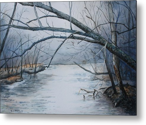 River Metal Print featuring the painting Misty Morning On The Red River by Patsy Sharpe