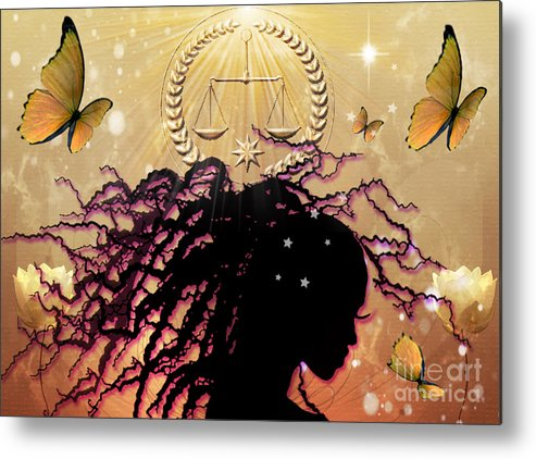 Primal Nature Butterfly Butterflies Balance Scales Harmony Being Golden Star Light Preace Tranquility Outer Inner Awareness Metal Print featuring the digital art Primal Nature by Gia Simone