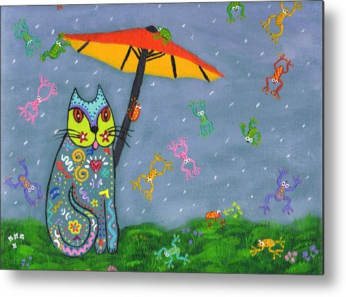 Cat Metal Print featuring the painting Raining Frogs On Kittyboy by Marilyn Ferguson