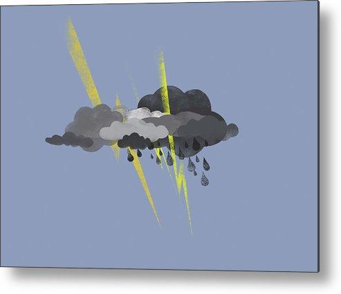 Horizontal Metal Print featuring the digital art Storm Clouds, Lightning And Rain by Jutta Kuss