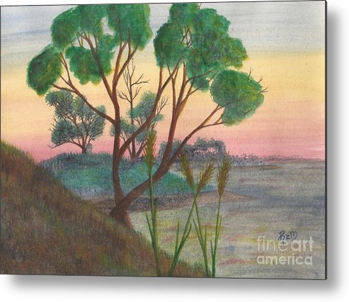 Watercolor Metal Print featuring the painting Taking A Moment... by Robert Meszaros