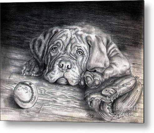 Dog Metal Print featuring the drawing Want To Play by Kathleen Kelly Thompson