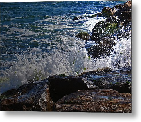 Ocean Metal Print featuring the photograph Waves Meet Jetty by Mikki Cucuzzo