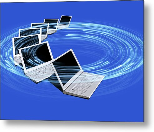 Horizontal Metal Print featuring the digital art Wireless Internet, Conceptual Artwork by Victor Habbick Visions