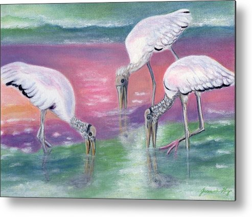 Wood Storks Metal Print featuring the painting Wood Stork Family At Sunset by Jeanne Kay Juhos