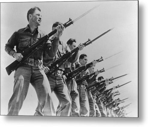 1940s Metal Print featuring the photograph World War II, Bayonet Practice by Everett