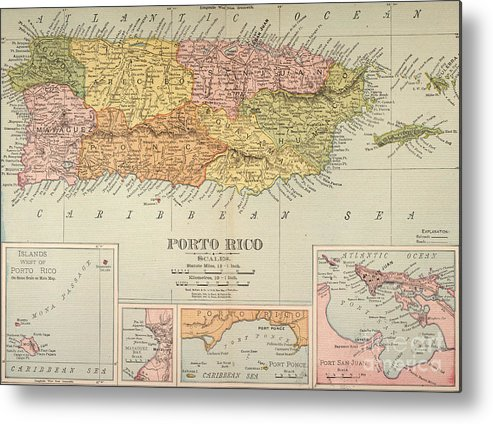 1900 Metal Print featuring the painting Map: Puerto Rico, 1900 by Granger