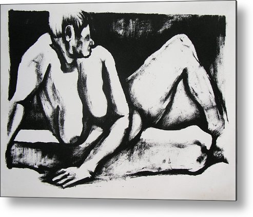 Nude Metal Print featuring the drawing Air Conditioned Stomach by Brad Wilson
