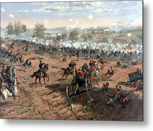 Civil War Metal Print featuring the painting Battle Of Gettysburg 4 by War Is Hell Store