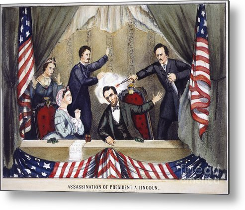 1865 Metal Print featuring the photograph Lincoln Assassination by Granger