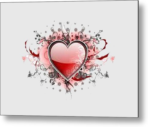 Metal Print featuring the painting Hearts 8 T-shirt by Herb Strobino