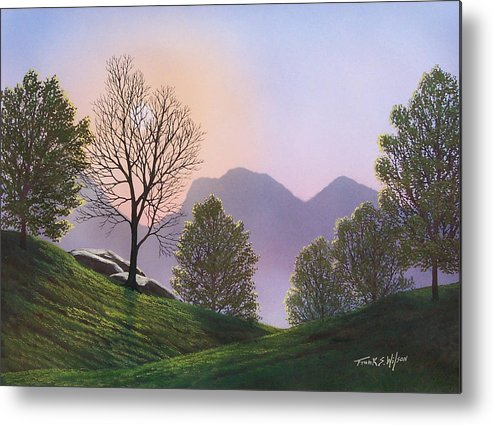 Landscape Metal Print featuring the painting Misty Spring Meadow by Frank Wilson