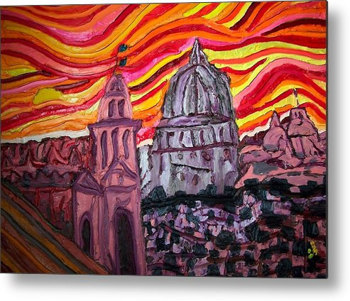 Sienna Italy Metal Print featuring the painting Sun At Night Siennas Delight by Ira Stark
