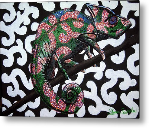 Chameleon Metal Print featuring the painting You Cant See Me by Sharon Supplee