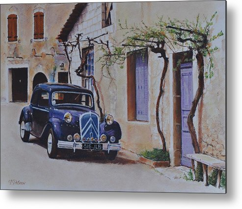 Classic Cars Metal Print featuring the painting 1951's Citroen by Iliyan Bozhanov