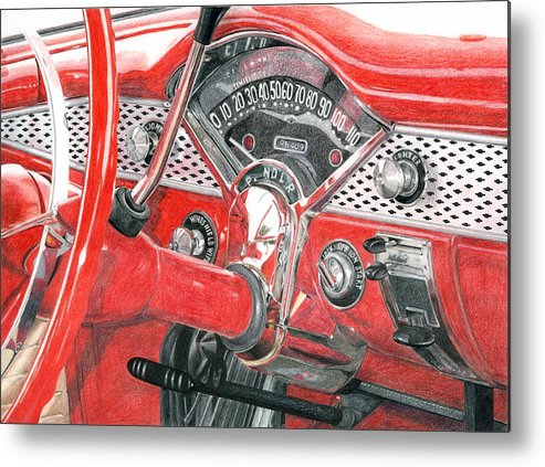Classic Metal Print featuring the drawing 1955 Chevrolet Bel Air by Rob De Vries