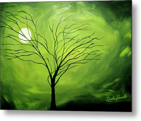 Abstract Acrylic Landscape Green Tree Moon Movement Metal Print featuring the painting Green Night I by Linda Powell