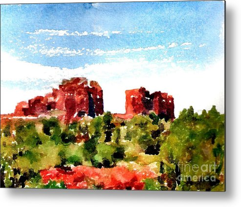 Cathedral Rock Metal Print featuring the painting #20161212a by John Warren OAKES