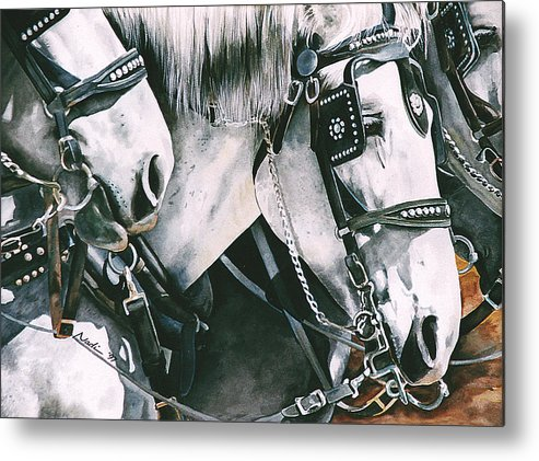 Percheron Metal Print featuring the painting 4 Grays by Nadi Spencer