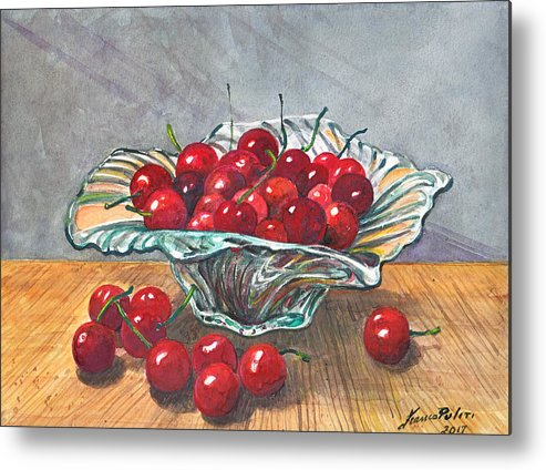 Cherry Metal Print featuring the painting A Bowl Full Of Cherries by Franco Puliti