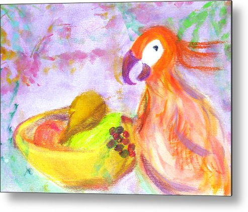 Parrot Metal Print featuring the painting A Parrot And The Passion Fruit by Michela Akers