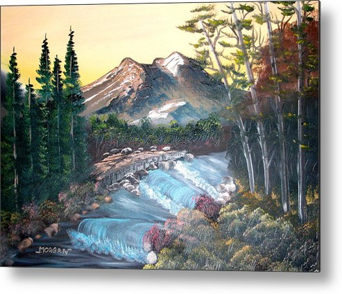 Landscape Metal Print featuring the painting A River Runs Through It by Sheldon Morgan