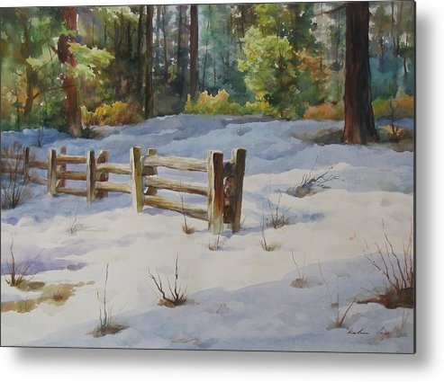 Landscape Metal Print featuring the painting A Winter Morning by Kelvin Lei