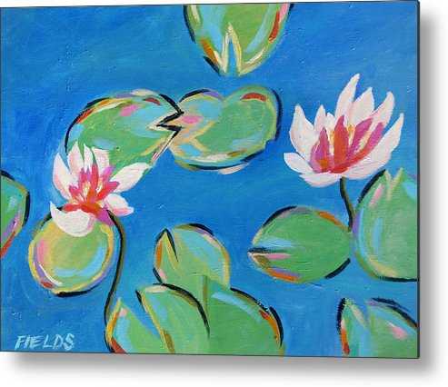 Lily Pads Metal Print featuring the painting Abstract Lily Pads by Karen Fields