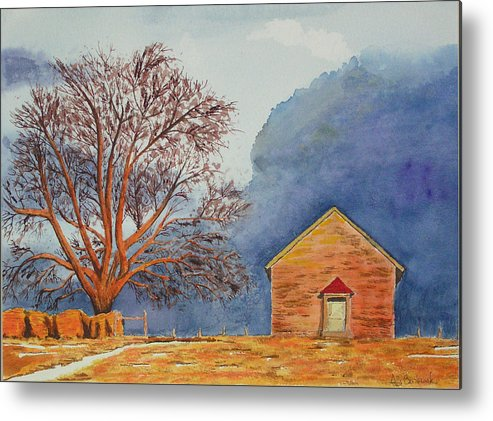 Landscape Metal Print featuring the painting Afternoon Storm by Ally Benbrook