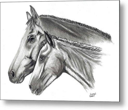 Charcoal Metal Print featuring the drawing Aj And Candy by Crystal Suppes