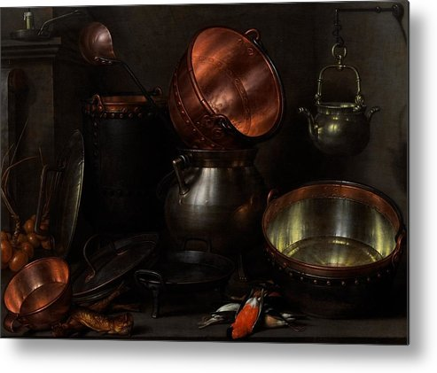 Still Metal Print featuring the painting Allegory Of The Four Elements by Cornelis Jacobsz Delff